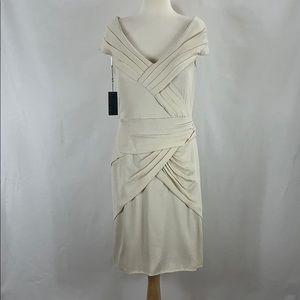 TADASHI SHOJI Silk Off-Shoulder Dress Cream, 14